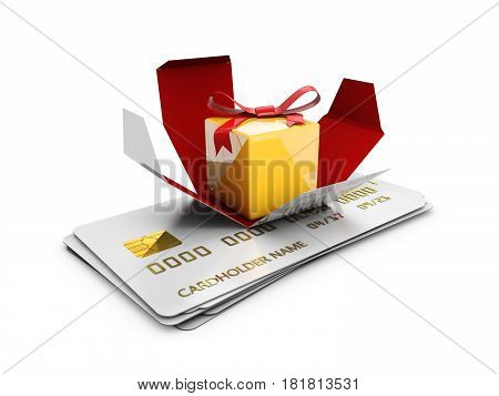A Gift Box on the credit cards, Special Discount template, 3d Illustration