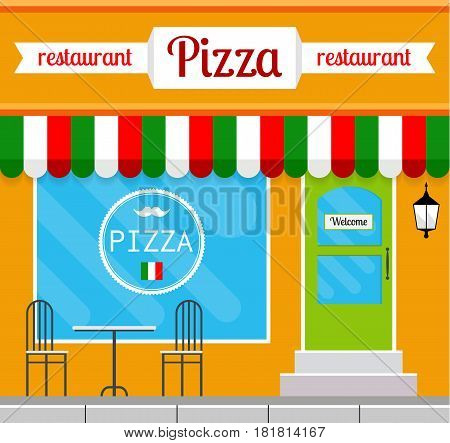 Pizza restaurant facade in flat style. EPS10 vector illustration of city public building square architecture. Small business pizzeria design.