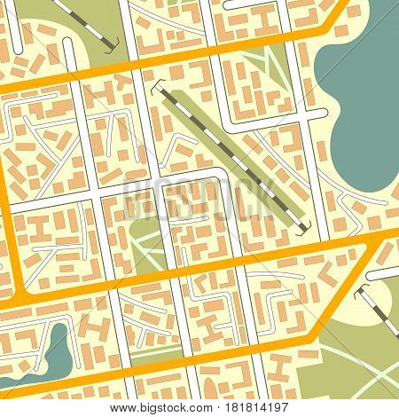 Generic city map background. EPS10 vector illustration in flat style.