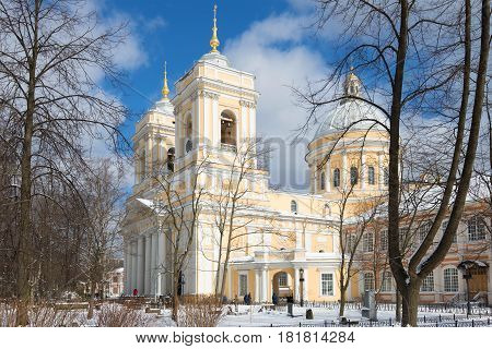 View of the Trinity Cathedral in the snowy April morning. The Alexander Nevsky Lavra. St. Petersburg