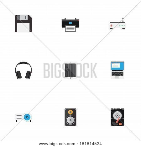 Flat Earphones, Hard Disk, Router And Other Vector Elements. Set Of PC Flat Symbols Also Includes Palmtop, Disk, Megaphone Objects.
