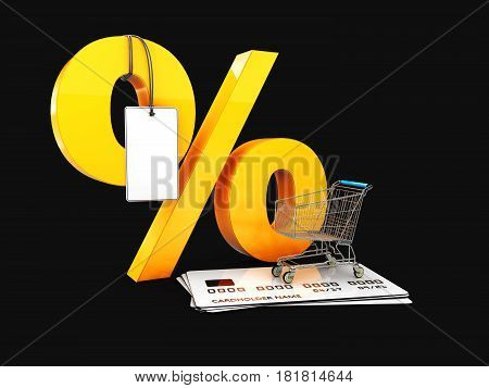Trolley On The Credit Cards And Percent With Label, 3D Illustration Isolated Black
