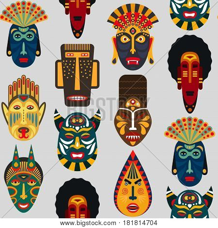 Seamless pattern of ethnic masks in flat style. EPS10 vector background of african tribal masks.