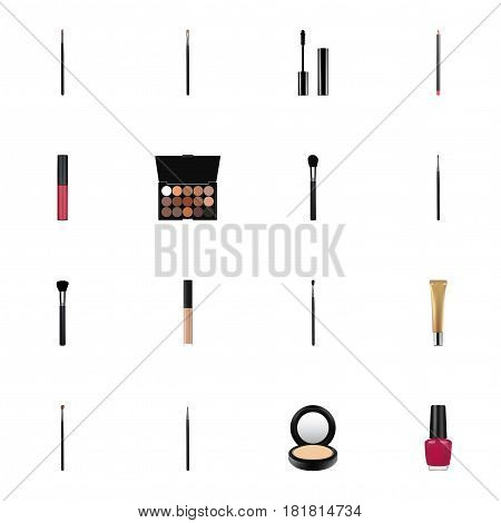 Realistic Lip Stain, Cover, Contour Style Kit And Other Vector Elements. Set Of Cosmetics Realistic Symbols Also Includes Blusher, Blending, Brow Objects.