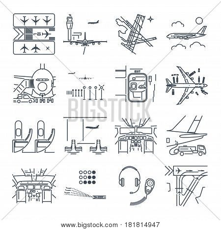 set of thin line icons airport and airplane terminal runway cockpit