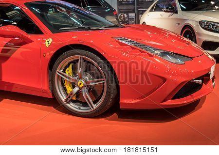 Red Ferrari 488 Gtb  Car Displayed In Tel-aviv. Israel