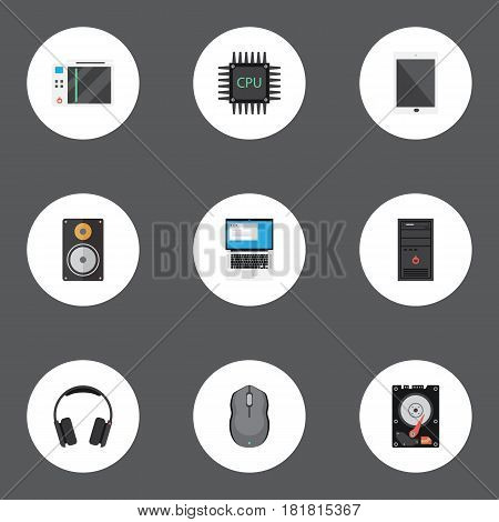 Flat Palmtop, Hard Disk, Processor And Other Vector Elements. Set Of Notebook Flat Symbols Also Includes Amplifier, Earmuff, Game Objects.