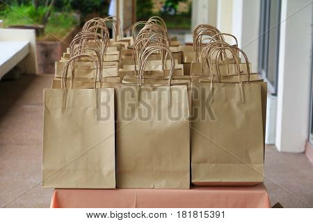 close up paper bag of kraft brown on table