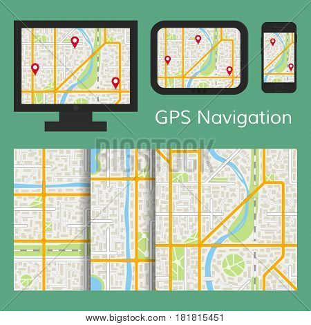 GPS navigation mobile app with online map on tablet smartphone or monitor and 3 seamless city map patterns. EPS10 vector illustration in flat style.