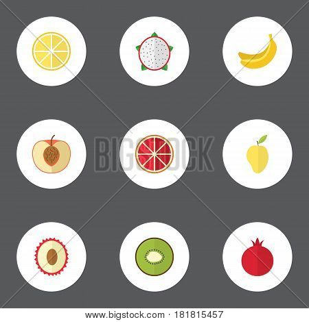 Flat Exotic Dessert, Jungle Fruit, Pitaya And Other Vector Elements. Set Of Fruit Flat Symbols Also Includes Jungle, Orange, Garnet Objects.