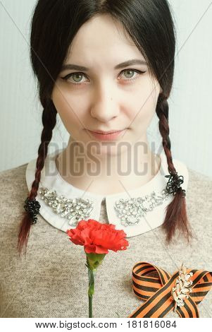 Victory Day, A Cute Girl With Pigtails,