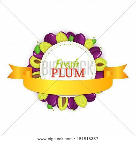 Round frame composed of ripe plums fruit and gold ribbon. Vector card illustration. Circle plum label. Prune plums fruits for packaging design of healthy food, jam, fruit marmalade, juice, smoothies.