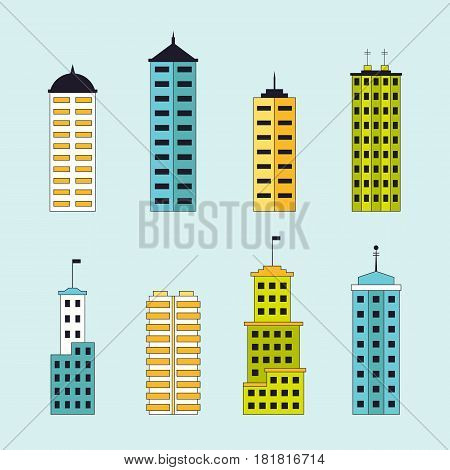 Skyscrapers set. City constructor with buildings for city creation. Tall modern houses collection. EPS10 vector illustration in flat style.