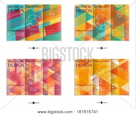 Colorful tri-fold brochure design template set with modern geometric mosaic background. Abstract three fold flyer collection. EPS10 vector.
