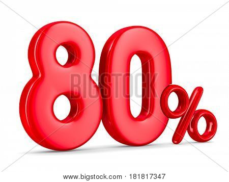 Eighty percent on white background. Isolated 3D illustration