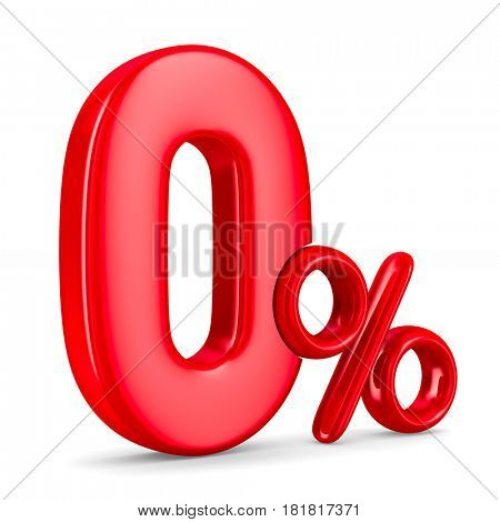 Zero percent on white background. Isolated 3D illustration