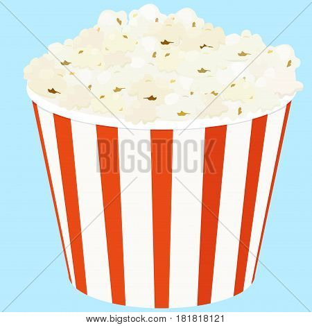 Popcorn in a red and white striped bucket box