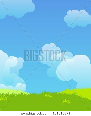 Beautiful vector landscape on a background of blue sky with clouds
