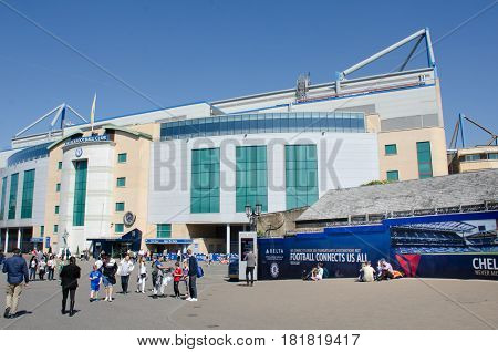 Chelsea London United Kingdom - 8 April 2017: Outside of Chelsea FC football ground