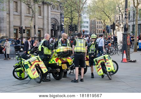 Trafalgar Square London United Kingdom - 8 April 2017: Group of paramedics on motorcycles