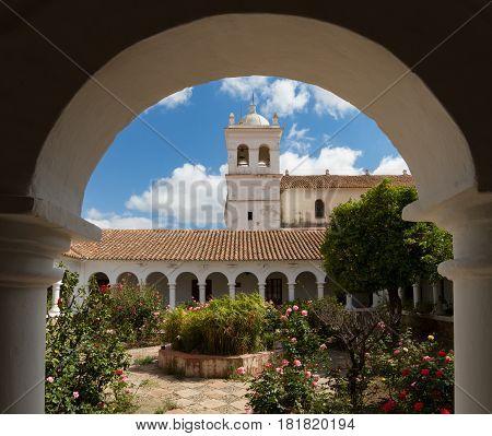 Arches of Cloister of La Recoleta Sucre Bolivia