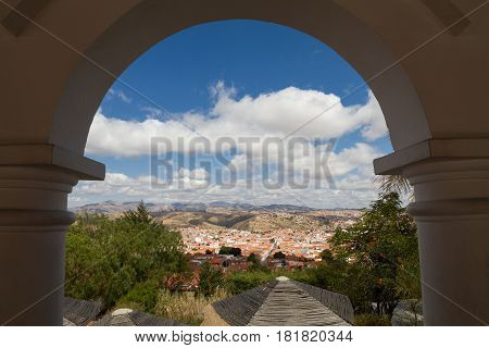 Cityscape of Sucre as seen from viewpoint La Recoleta Bolivia