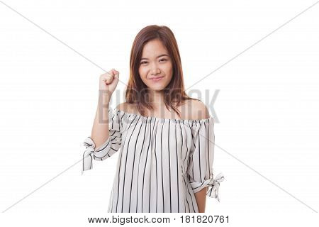 Successful  Young Asian Woman Hold Fist Up.