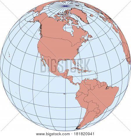 North America Earth Globe Map