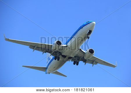 Amsterdam the Netherlands - April 9th 2017: PH-BXY KLM Royal Dutch Airlines Boeing 737 approaching Polderbaan runway at Schiphol Amsterdam Airport the Netherlands
