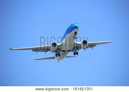 Amsterdam the Netherlands - April 9th 2017: PH-BGC KLM Royal Dutch Airlines Boeing 737 approaching Polderbaan runway at Schiphol Amsterdam Airport the Netherlands