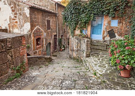 Sorano, Grosseto, Tuscany, Italy: picturesque narrow alley with an ancient votive shrine and plants in the old town of the Tuscan medieval village