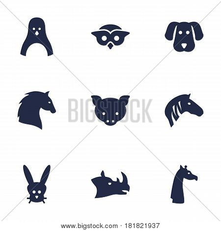 Set Of 9 Brute Icons Set.Collection Of Camelopard, Owl, Steed And Other Elements.