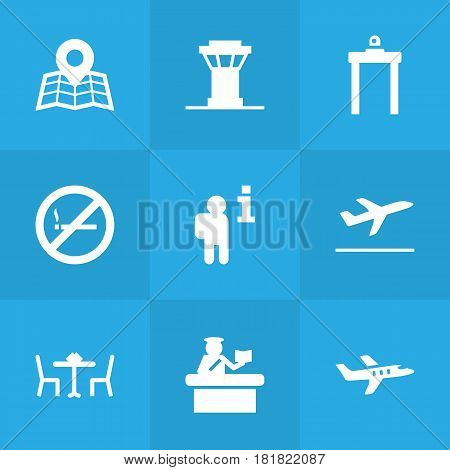 Set Of 9 Land Icons Set.Collection Of Tower, Rectifier, Forbidden And Other Elements.