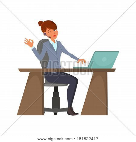 Cartoon call-center operator. A cheerful Female with a wireless headset is sitting at the workplace. A woman is working behind a laptop. Charecter design. Phone service employees.