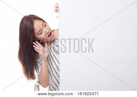 Excited Young Asian Woman With Blank Sign.
