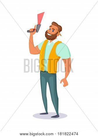 Warehouse employee holds a barcode scanner in his hand. Concept character design. Vector illustration