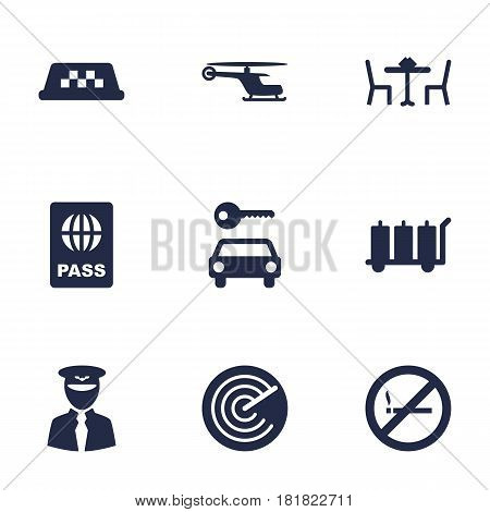 Set Of 9 Aircraft Icons Set.Collection Of Hire, Restaurant, Passport And Other Elements.