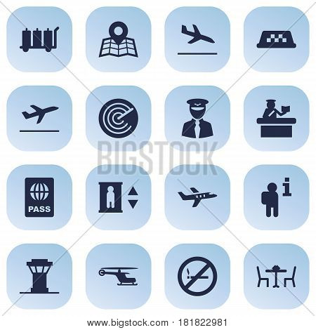 Set Of 16 Land Icons Set.Collection Of Letdown, Tower, Passport And Other Elements.
