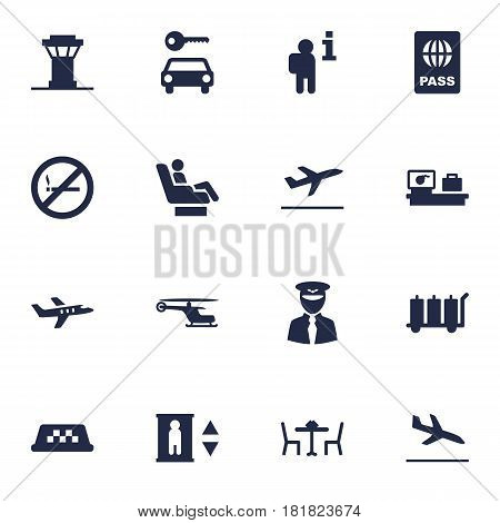 Set Of 16 Airplane Icons Set.Collection Of Resolver, Chopper, Tower And Other Elements.