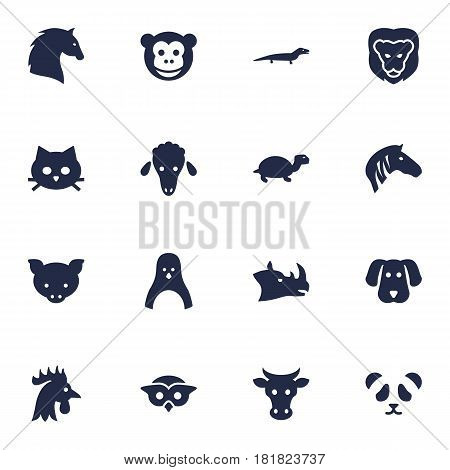 Set Of 16 Beast Icons Set.Collection Of Mutton, Steed, Hound And Other Elements.