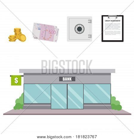 Vector illustration bank facade building in flat style. Finance and banking icon set.