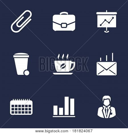 Set Of 9 Work Icons Set.Collection Of Diplomat, Trash Can, Diagram And Other Elements.