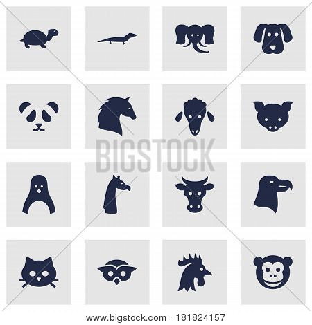 Set Of 16 Alive Icons Set.Collection Of Bishop, Ape, Bear And Other Elements.