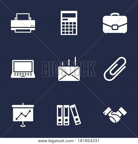 Set Of 9 Work Icons Set.Collection Of Calculator, Mail, Laptop And Other Elements.