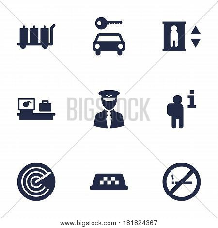 Set Of 9 Land Icons Set.Collection Of Aviator, Radiolocator, Lift And Other Elements.