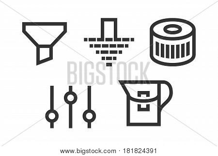 filter icons vector set. filtration web illustrations
