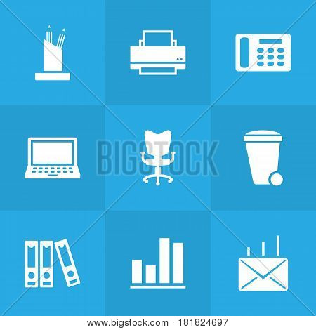 Set Of 9 Bureau Icons Set.Collection Of Trash Can, File Folder, Diagram And Other Elements.