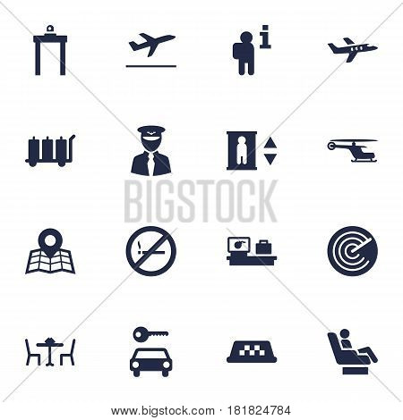 Set Of 16 Airplane Icons Set.Collection Of Radiolocator, Vip, Chopper And Other Elements.