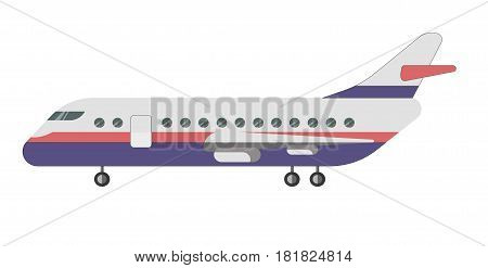 Passenger aircraft isolated on white background vector illustration. Air transportation vehicle, aviation airliner in flat style design. Touristic means of transport for travelling on long distances
