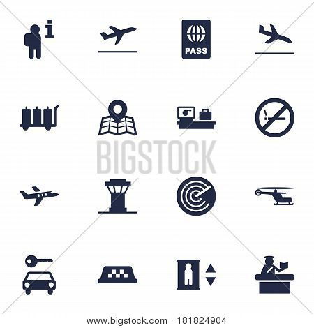 Set Of 16 Airplane Icons Set.Collection Of Location, Passport, Resolver And Other Elements.